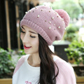 Autumn fashion pearl plus cashmere thickening single cap ladies high quality wool hat knitted hat warm earmuffs head cap