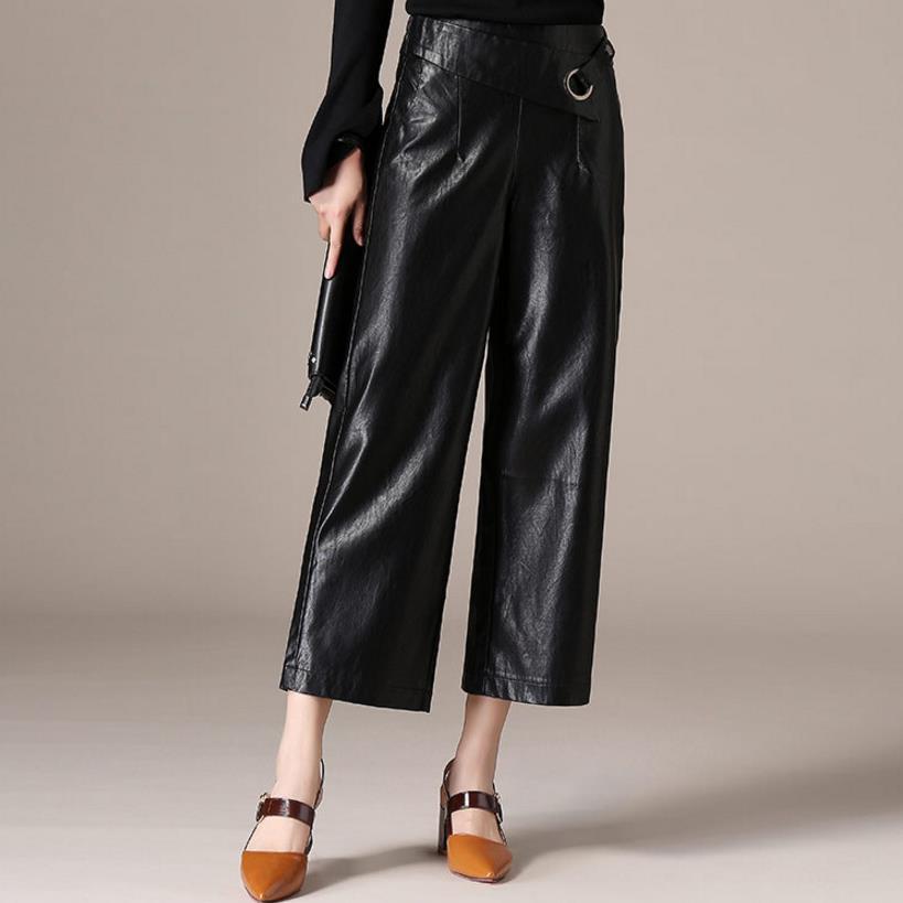 Faux Leather Pants Women Elastic waist pu wide leg Pants Trousers Plus Size