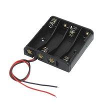 Preto 4×1.5 v AAA Bateria Caso o Titular Baterias w Fios Condutores