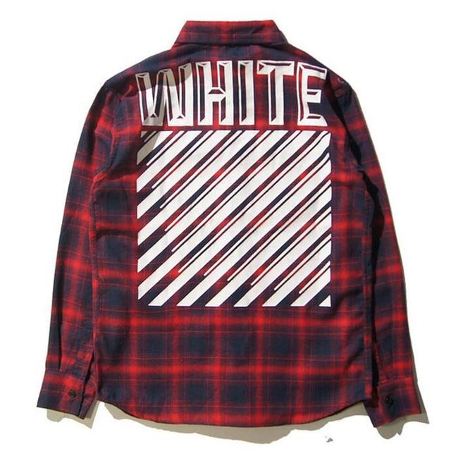 dd0486d65 OFF WHITE shirt Printing Stylish England Plaid Shirt OFF White Red Shirt  Pyrex Long Sleeve men Shirts