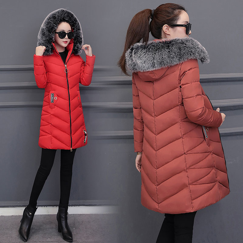 Fur Collar Winter   Down     Coat   Jacket Long Warm Slim Women Cotton-padded Casaco Feminino Abrigos Mujer Invierno Parkas Outwear 88