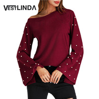 VESTLINDA Skew Neck Beaded Bell Sleeve Ribbed Blouse Shirt Women Casual Fashion Top Pullovers Female Solid