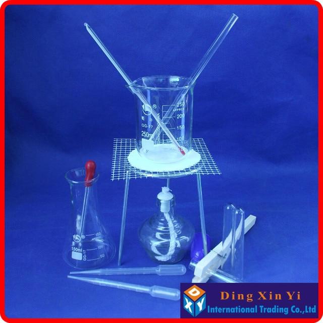 بيكر + ترايبود + الزجاج مخروطي قارورة + الكحول مصباح + الجذعية ميزان الحرارة ، الخ (14 أجزاء من السلع) الكيميائية التجربة جهاز