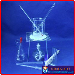 Beaker+Tripod+Glass Erlenmeyer Flask+Alcohol lamp+Stem thermometer,etc.(14 pieces of goods)The chemical experiment device