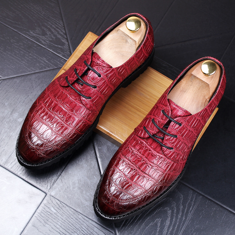 italian design men casual office home wedding genuine leather shoes lace up platform oxfords shoe male crocodile pattern zapatos men luxury wedding party dress crocodile grain genuine leather shoes print lace up teenage oxfords shoe breathable zapatos point