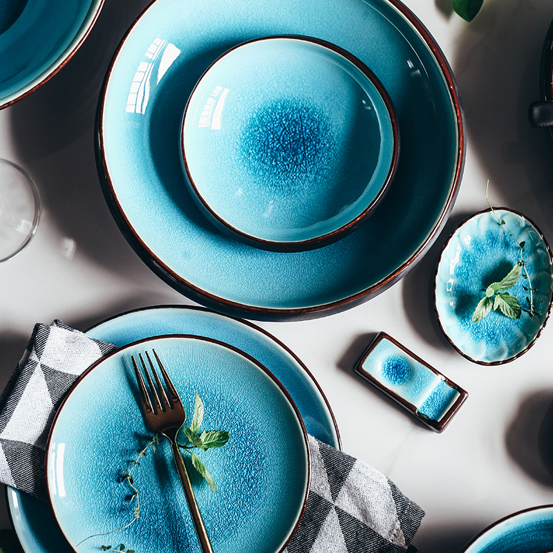 Ice Cracking Glaze Ceramic Tableware Household Dishes Rice Bowls Steamed Fish Dishes Porcelain Blue Dinner Plates