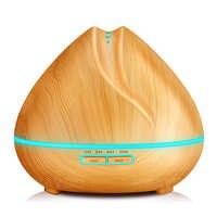 Kbaybo 400 ml 아로마 에센셜 오일 디퓨저 초음파 가습기 정수기 우드 그레인 led 조명 사무실 홈 침실