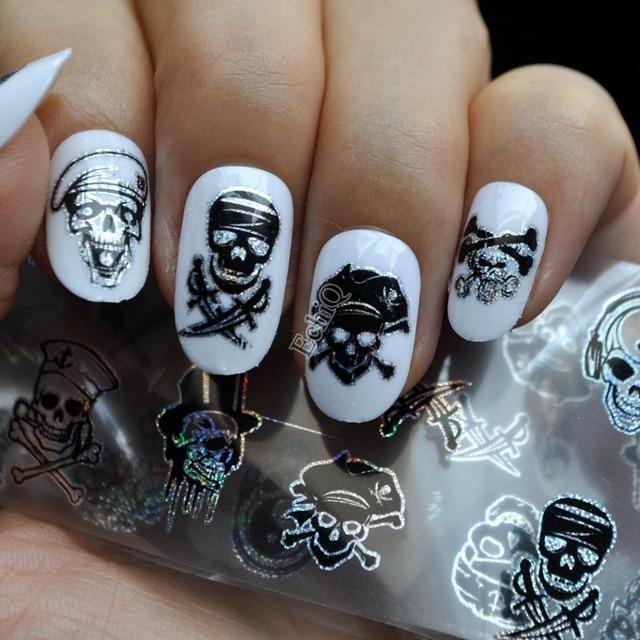 Puck Stijl Nail Art Transfer Folie Zwart Enkele Zombie Pirates Nail
