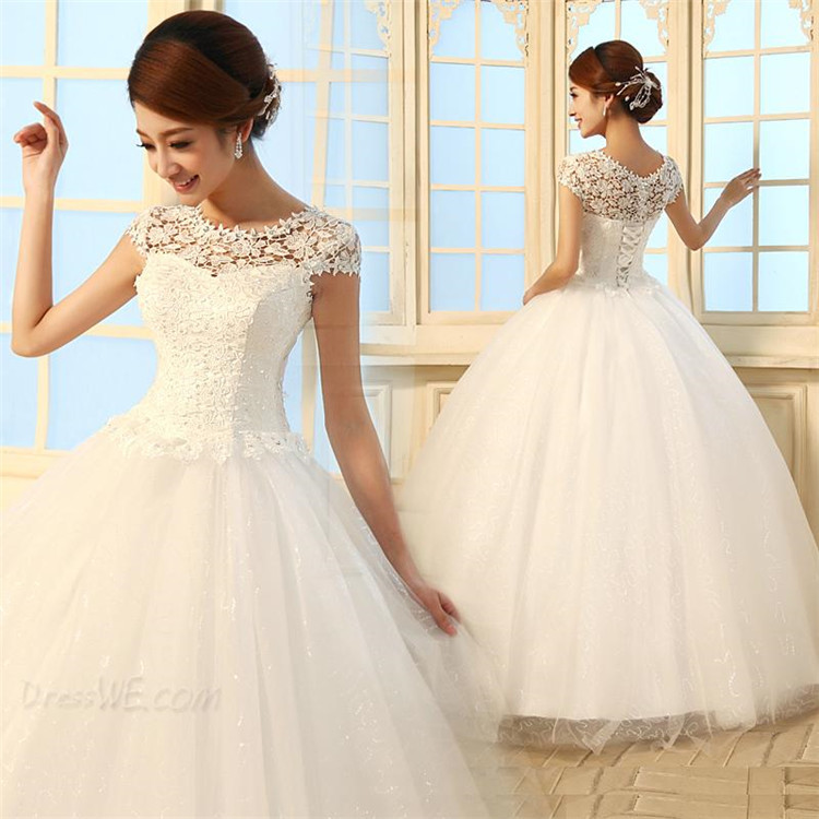 Women Long Dress Cap Sleeves White Wedding Dresses Latest Style Ball ...