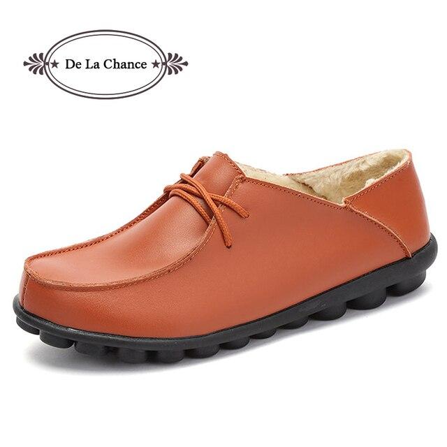 De La Chance 2017 Shoes Woman Leather Winter Women Shoes Flats Loafers Slip On Women Casual Shoes Moccasins Plus Size