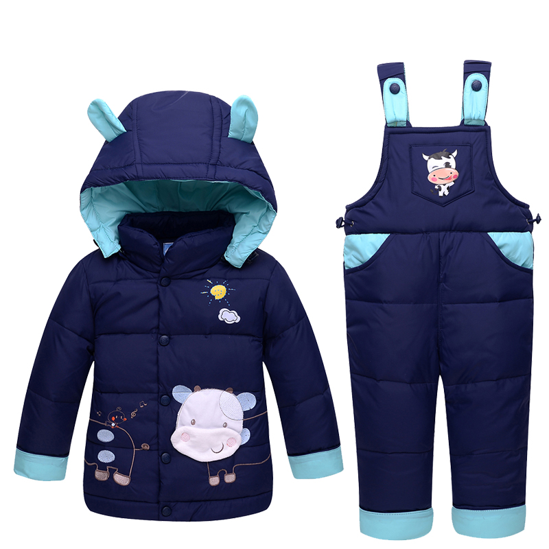 2017 Kids Clothes Autumn Winter Down Jackets For Girls Boys Warm Coats Snowsuit Children Outerwear Cow Pattern Overalls Jumpsuit 2017 winter down jackets for boys