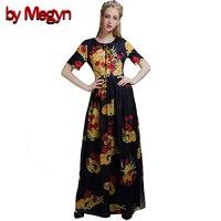 By Megyn Women Runway Dress Summer Floral Print Dress Floral Length Short Sleeve O Neck Retro