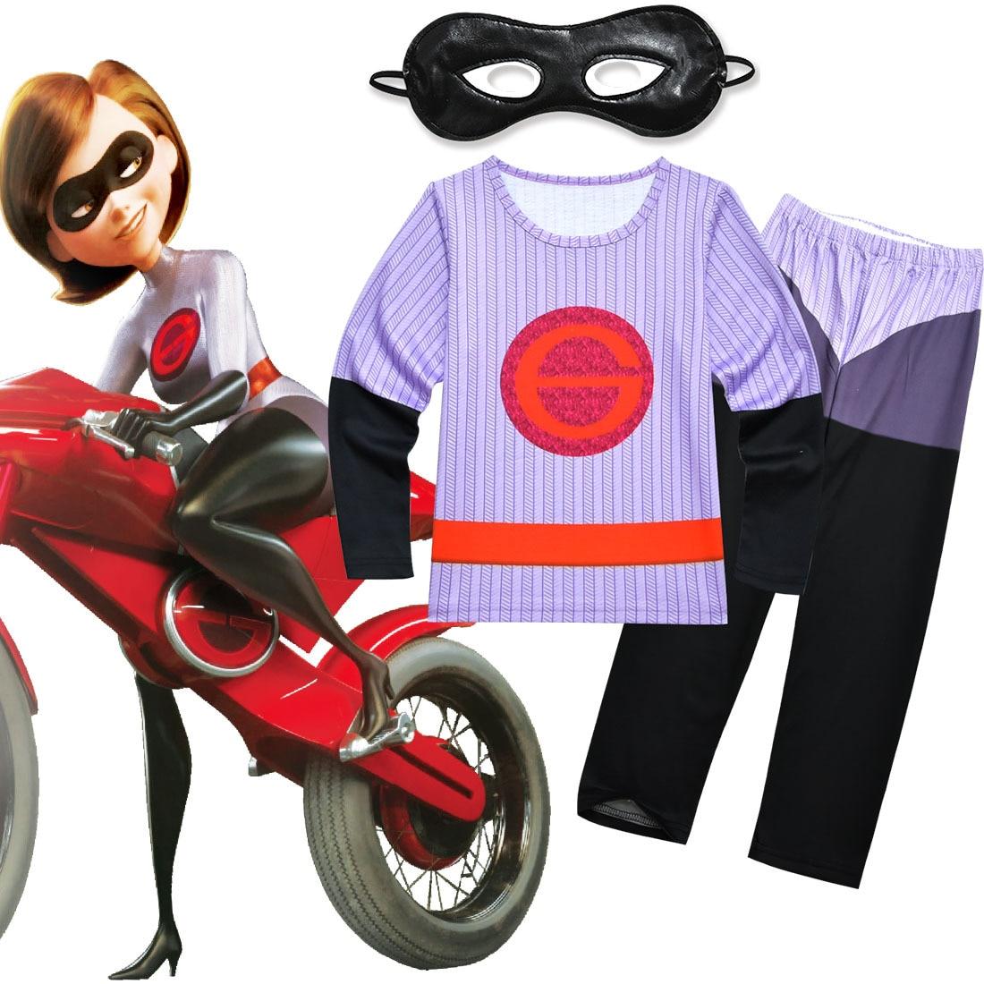 3b069ab5b145 Kids The Incredibles 2 Costume Set Boys Girls Cartoon T Shirt Pants Mask  Childrens Nightgown Halloween Cosplay Costume