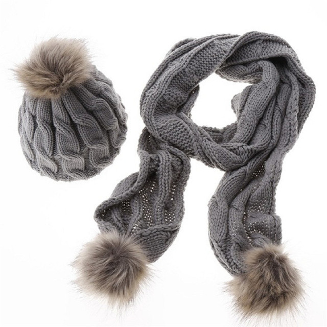 Warm Soft Pom Pom Hat Fur Ball Scarf Beanie Set Crochet Braids Knit Hats And Shawl Fashionable Winter Hats for Women