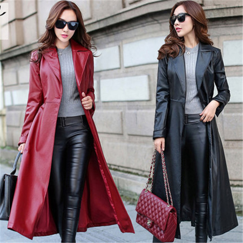 2019 spring new   leather   long section over the knee Big size long sleeve female   leather   jacket black women's   leather   windbreaker