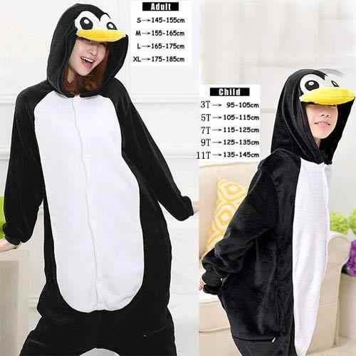 Черный Пингвин фланелевые пижамы Пижама-комбинезон с капюшоном для взрослых  в стиле унисекс Детский костюм a415bd22478b9