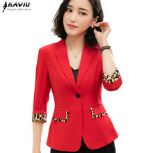 Fashion leopard patchwork Blazer women summer 2019 New formal half sleeve jacket office ladies plus size casual coat
