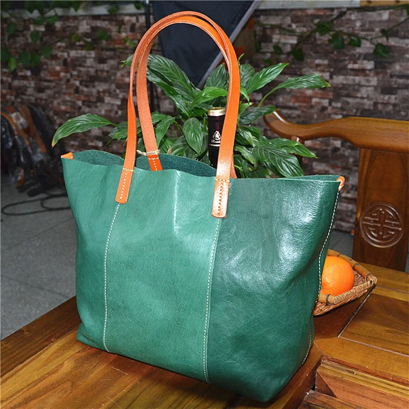Eco friendly Genuine Vegetable Tanned Leather Women s Large Totes Purse Female Top handle Handbag Two