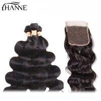 HANNE Hair Indian Hair Natural Wave Bundles with Closure 100% Human Hair Natural Color 4*4 Lace Closure Remy Hair