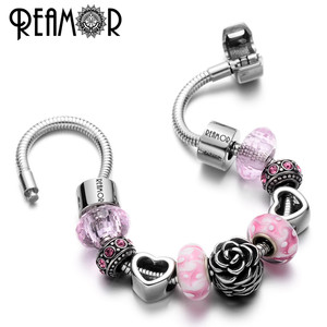 Image 5 - REAMOR 17/18/19/20/21cm 316l Stainless Steel Snake Chain Heart Clasp Metal Bangle Fit DIY Fashion Bracelet Women Jewelry Making