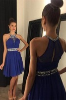 Sexy Royal Blue Chiffon Short Prom Homecoming Dresses For Juniors Beaded Ruched Bodice Cocktail Homecoming Gowns Sale Under 100