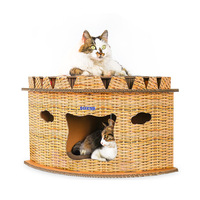 Cat Cardboard House Climbing Tower Tree with Bells Cats Jumping Platform Corrugated Paper Kitten Condos Scratch Board Furniture