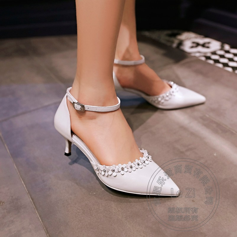 Sweet Pink Most Popular Pointed Toe High Heels Ankle Strap Buckle Pu High Heels Clasp Pointy