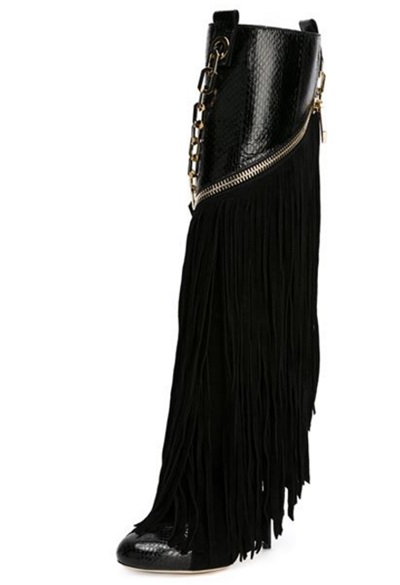 2018 Newest Design Black Fringe Knee High Boots Sexy Snakeskin Suede Patchwork Dress Boots Chain Decorated Thin High Heel Boots unique new design chain decorated fringe