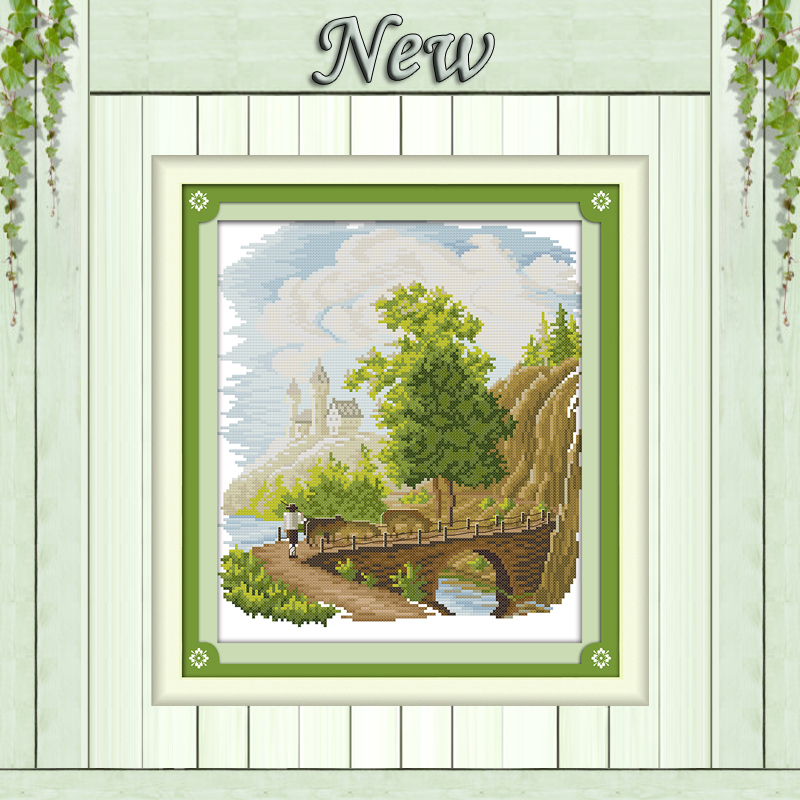Grazing scenery rivers Painting 11CT Counted printed on Canvas DMC 14CT chinese Cross Stitch diy Embroidery kits Needlework Sets