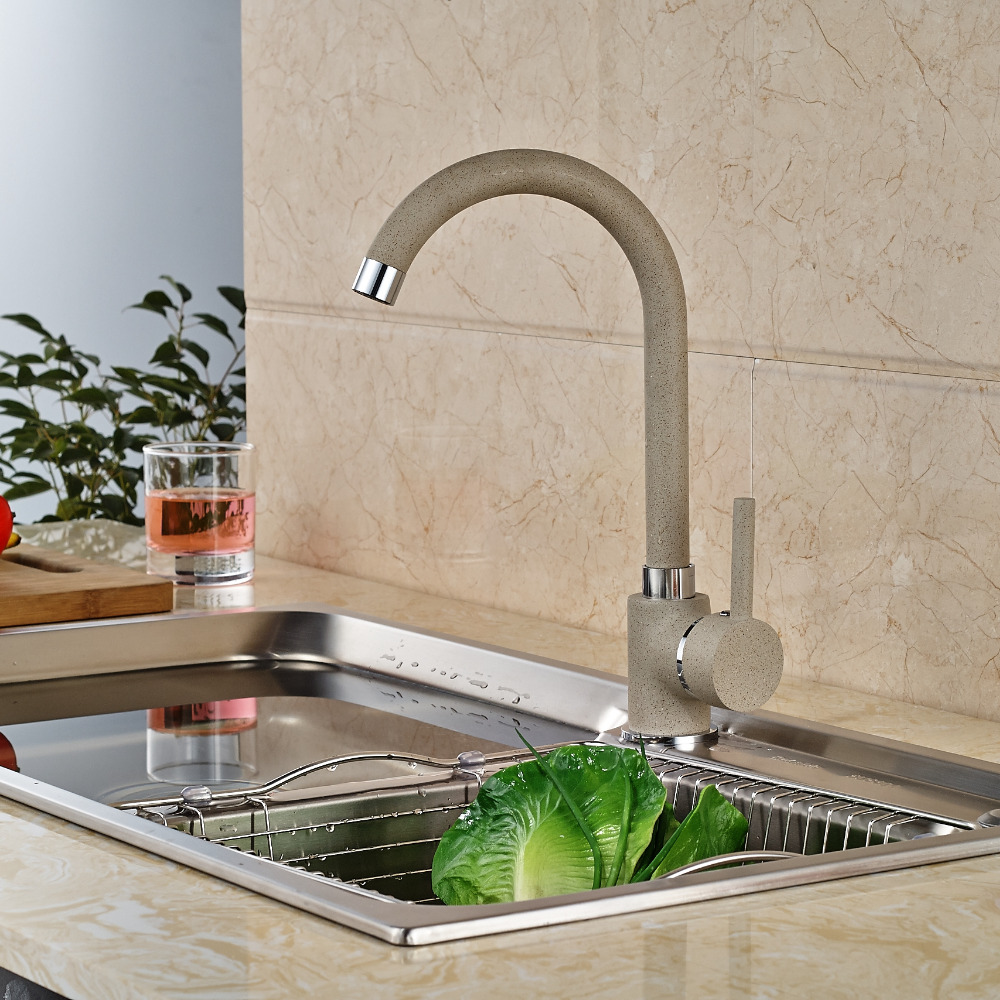 Kitchen Mixer Faucet Single Lever Deck Mount Kitchen Hot Cold Water Taps