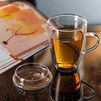 Handmade Double Layer Glass Cup With Lid Simple Morning Mugs With Handle Coffee Milk Tea Cup