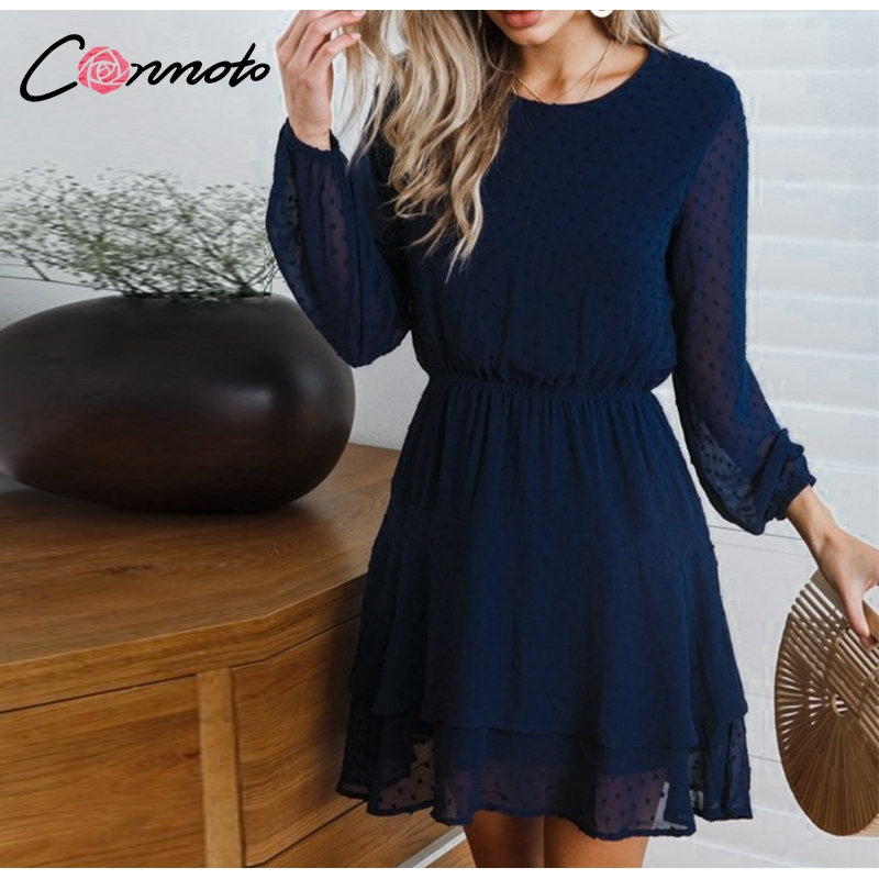 Conmoto Vintage Party Women Dress Casual Elegant Long Sleeve Polka Dot Dress Solid Short Summer Chiffon Dress Vestidos