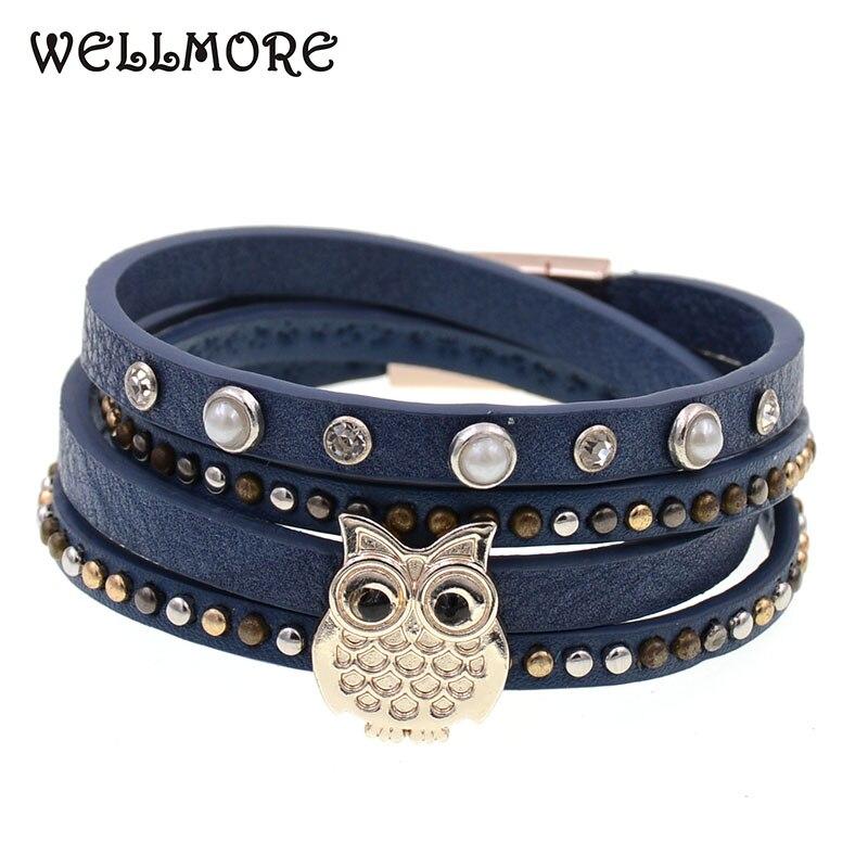 WELLMORE women bracelets bohemia bracelets Leather bracelets owl charm bracelets for women fashion jewelry drop shipping