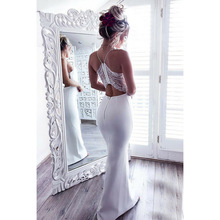 Ordifree 2019 Summer Elegant Women Long Party Dress White Red Halter Bodycon Sexy Maxi Dress Lace Evening Mermaid Dress