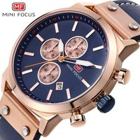 MINI FOCUS 2018 Sport Men Watch Top Brand Quartz Wristwatch Leather Military Watches Clock Men Chronograph