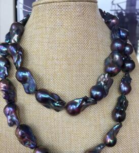 Ювелирные изделия натуральным огромный 22 28 мм БАРОККО tahitian черный синий жемчужное ожерелье 33 inch 925 s