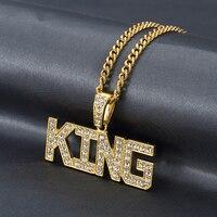 Goud kleur Alloy Tij Brief KING Hanger Ketting Met Strass Crystal Hip Hop Rap Mode-sieraden Box Ketting Voor Mannen vrouwen