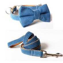 Jeans Bow Tie Dog Collar & neck tie collar leash Personalized Engraved with All Metal Buckle