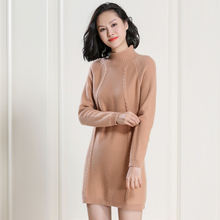 2017 winter women 100% cashmere think long dress turtleneck twist cashmere long pullover thickened Pullover Sweater Female