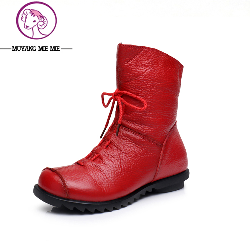 2017 New Fashion Genuine Leather Snow Boots Female Winter Platform Ankle Boots Women Zipper Lace-up Boots front lace up casual ankle boots autumn vintage brown new booties flat genuine leather suede shoes round toe fall female fashion