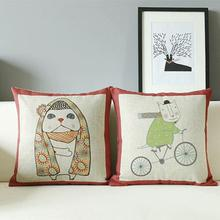 Pillow Cushion Cute Linen Home-Decor Cotton Mr Cat And Cartoon 45--45cm