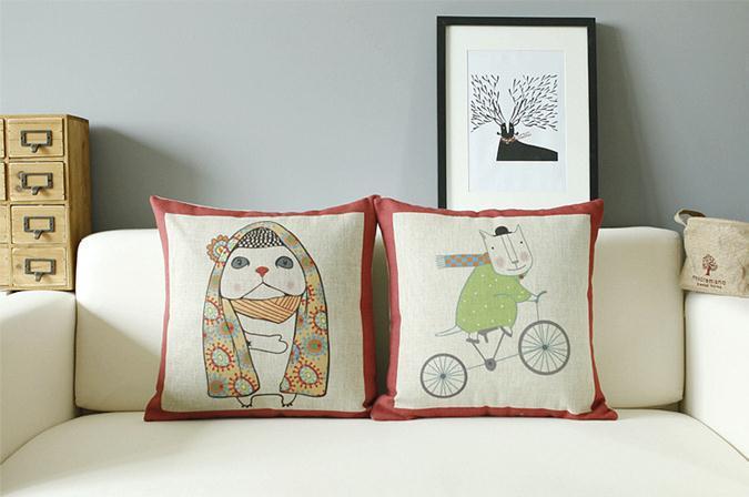 Mr Cat and Mrs Cat Cute Animal Cushion cartoon Linen Cotton Pillow Cushion Car Office Cushions Home Decor 45*45cm