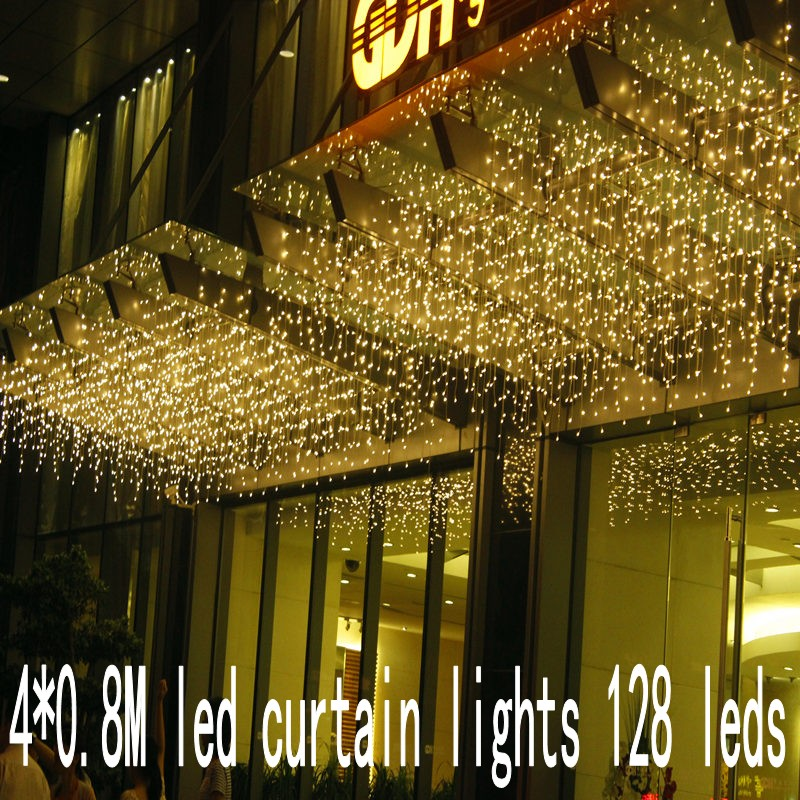 4m Droop 0.8m Christmas Garlands LED String Christmas Net Lights Fairy Xmas Party Garden Wedding Decoration Curtain Lights