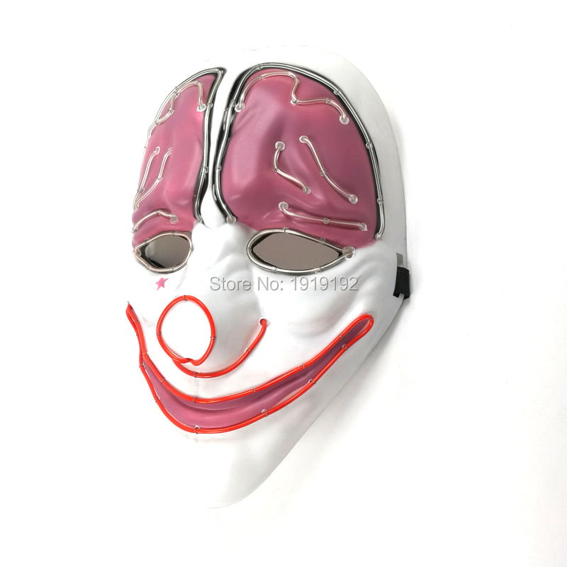 2017 New design Horror Clown Mask Sound Activated EL wire Blinking Flexible Neon light For Discos dance Carnival Party Supplies