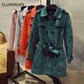 CLUXERCER Marca trench coat Trespassado Trench Coat Para As Mulheres Fivela de Cinto de Camurça Camurça de Manga Comprida Casual Casaco Outerwear