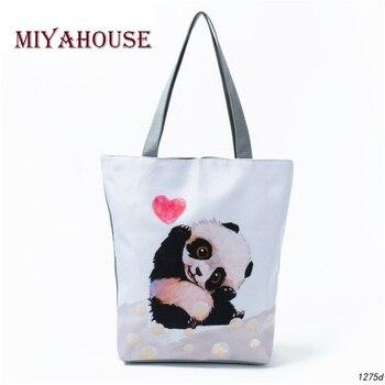 Miyahosue Rahat Karikatür Hayvan Tasarım omuzdan askili çanta Kadın Güzel Panda Baskılı Çanta Kadın Günlük Kullanım alışveriş çantası Bayan