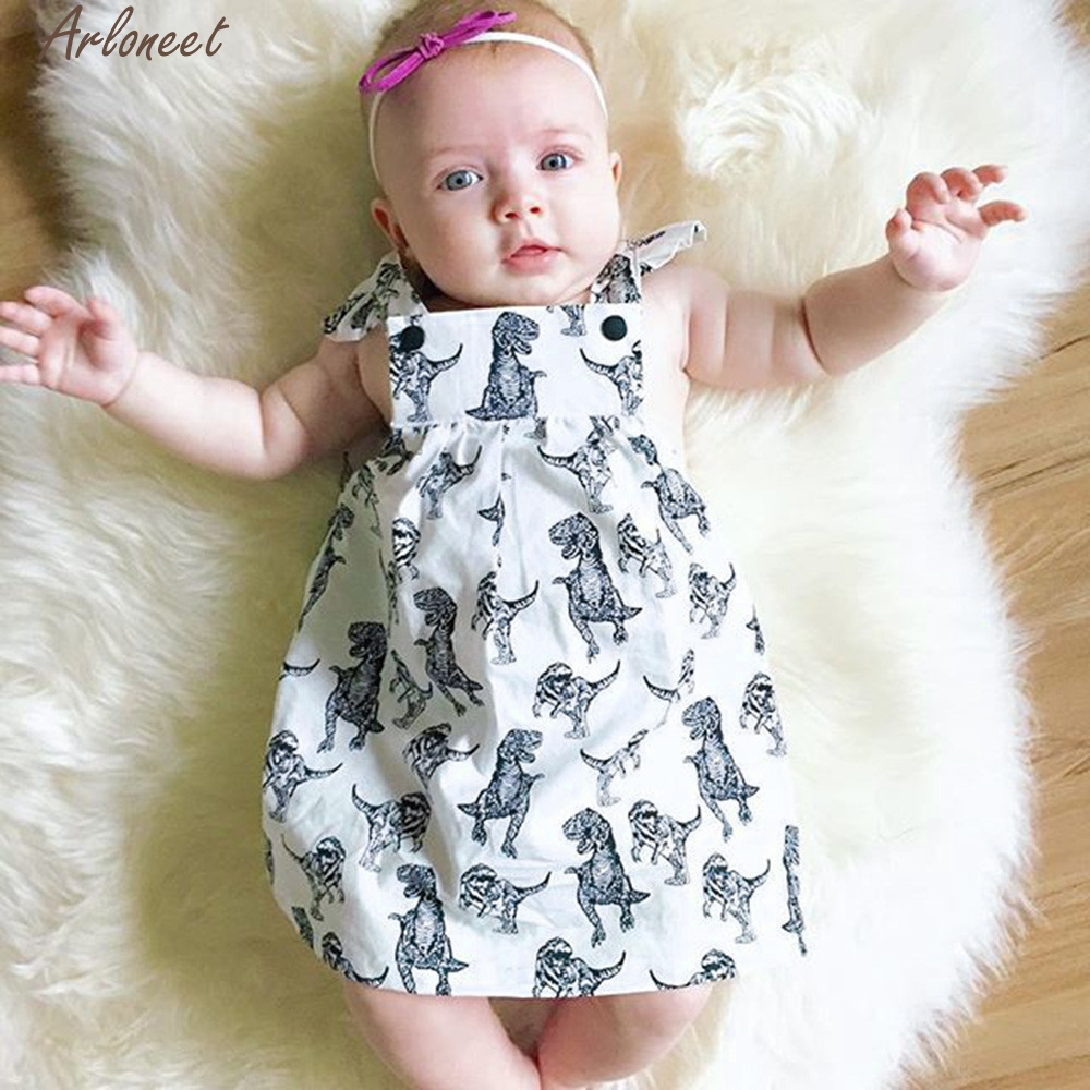 ARLONEET Baby Girls Infant Toddle Dinosaur Bow Cartoon Sleeveless Clothes Princess Dress Sleeveless Cute Suit Jan31 D25