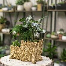 Resin Artificial Twisted Driftwood Flower Pot Sculpture Succulent Planter Rustic 2 Pots 2 Layers Trunk Stump for Decoration
