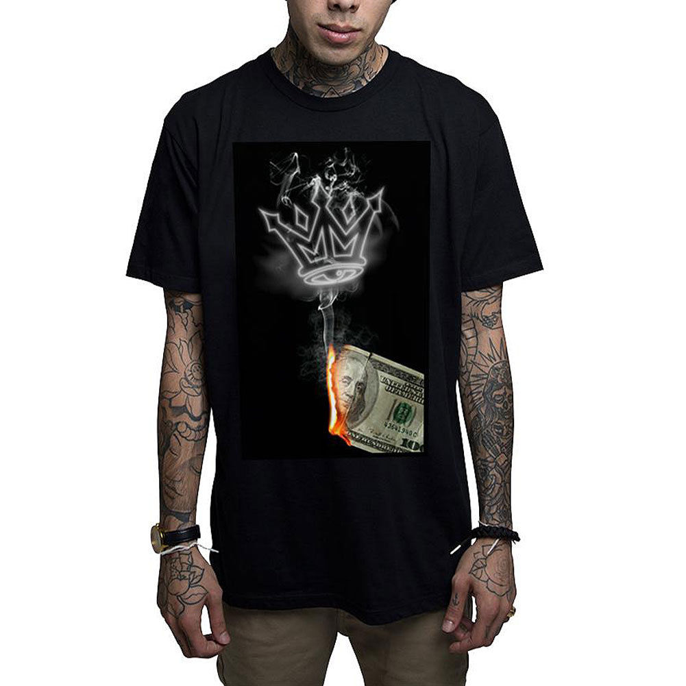 Mafioso Mens Money To Burn T Shirt Black Tattooed Punk Rap Clothing Apparel 100% Cotton Letter Printed T-Shirts Top Tee