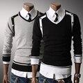 2014 Top Fasion Seconds Kill Pullovers Polo Male Slim Unique Double-shoulder Button Color Block Decoration V-neck Casual Sweater